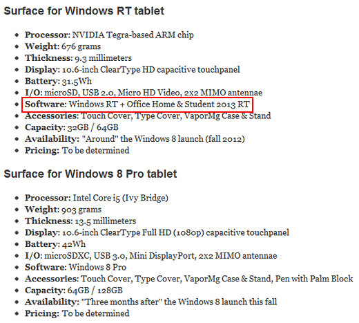 윈도8 RT 태블릿, 서피스 태블릿
